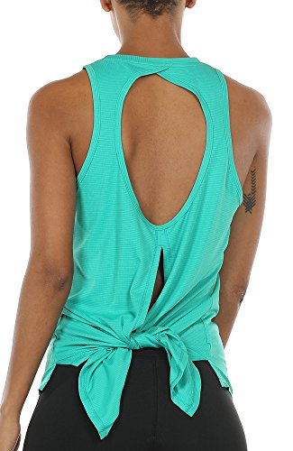 icyzone Open Back Workout Top Shirts - Activewear Exercise Yoga Tops for Women (M, Florida Keys)