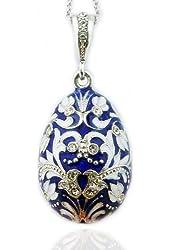 Fine Jewelry Blue Russian Egg Pendant Silver Enameled 1 1/2 Inch