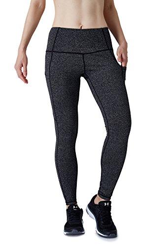 Dyorigin Leggings for Women – High-Waisted Tummy Control Compression Yoga Leggings Athletic Pants with Pockets (Heathered Black XS) by Dyorigin (Image #2)