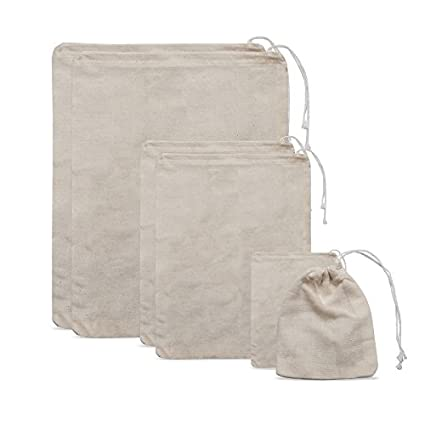 7cffc07ae374 (set of 6) MIAOMIAO Reusable Cotton Drawstring Bags, Machine Washable  Unbleached Cotton bags (2 each of Lg., Med. & Sm)