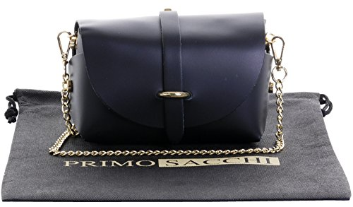 (Primo Sacchi Italian Leather Mini Small Micro Black Shoulder Cross body Evening Bag With Metal Chain Strap)