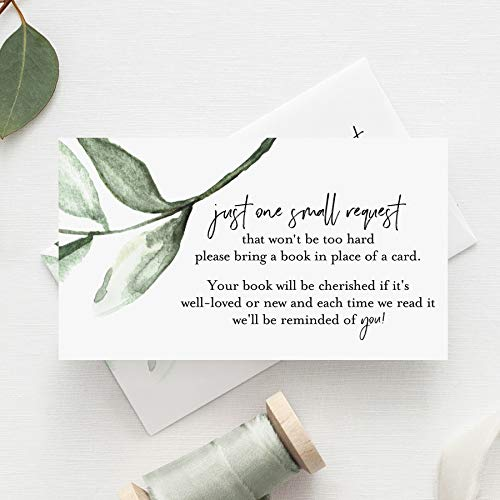 Bliss Collections Book Request Cards for Baby Shower, Pack of 50 Cute Greenery Floral Books for Baby Cards, 2 x 3.5 on Premium Quality Heavyweight 100 lb Card Stock, Made in the USA