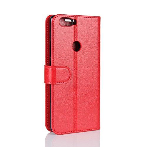 La cubierta de la caja de la cartera del teléfono para ZTE Nubia Z17. GOGME ZTE Nubia Z17 Flip Funda Funda para Teléfono, Premium PU Cartera de Cuero Conector para Celular, Celular Skin Poche Magnétic rojo