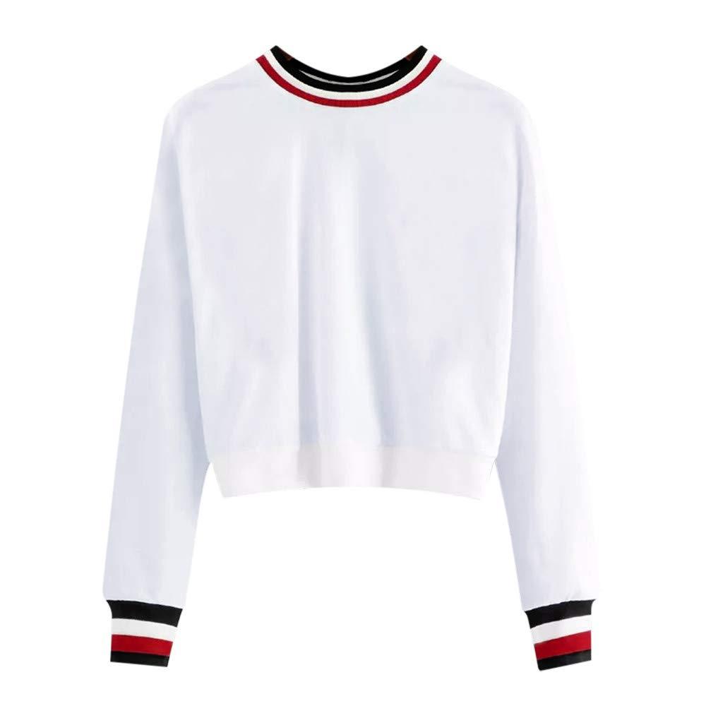 Rambling New Women's Off Shoulder Sexy Long Sleeve Fashion Stripe Sweatshirt Pullover