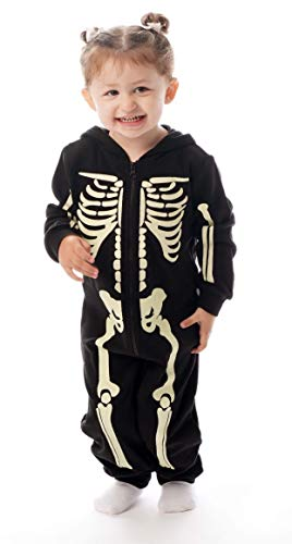 #followme Glow in The Dark Skeleton Girls Jumpsuit Pajamas 6540-10-12