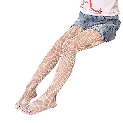 Children Little Girls Hollow Out Fishnet Pantyhose Tights Leggings 1 Pair (White-Small Net) - Girls White Fishnet