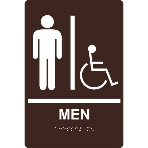 (Ada Restroom Sign Tactile + Braille Dark Brown Novelty Metal Sign for Home Decor Tin Sign for Man Women Cave)