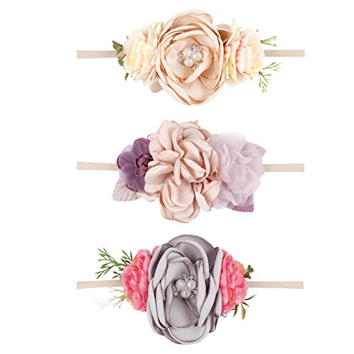 Ncmama Baby Floral Pearl Headbands Newborn Flower Crown Nylon Hair Bow Band For Infant Toddler Pack of 3