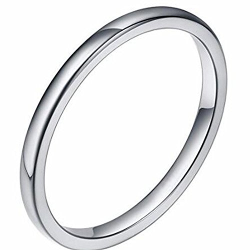 Jude Jewelers 2MM Tungsten Carbide Stackable Ring Plain Wedding Band (Silver, 10) (Beautiful Stainless Steel Ring)