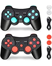 PS3 Controller, PS3 Controller Wireless, PS3 Remote, CFORWARD 1Pack Wireless Rechargeable Gamepad Dual Vibration Remote Joystick Compatible for Playstation 3 (Lake Blue+Lake Red)