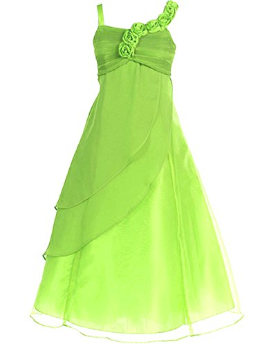 FAIRY COUPLE Big Girl's A-line Straps Chiffon Flower Girl Dress for Wedding K0034 8 Apple Green (Green Fairy Dress)