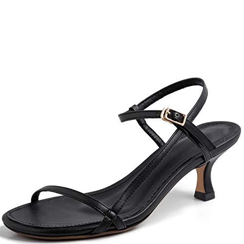 Vimisaoi Women's Vintage Ankle Strappy Stilettos Kitten Heel Sandals, Rome Comfort Peep Toe Slip On Pumps Dress Party -