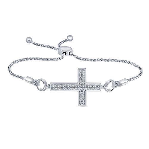 Diamond Cross Link Bracelet - Sterling Silver White Diamond Adjustable Cross Strand Bolo Bracelet (0.05ct) for Womens Teens