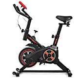 GYMAX Indoor Exercise Bike, Adjustable Fitness Bike with Heart Rate Sensors, LCD Display & 5-Position Flexible Saddle, Professional Exercise Cycling Bike for Home Office Gym
