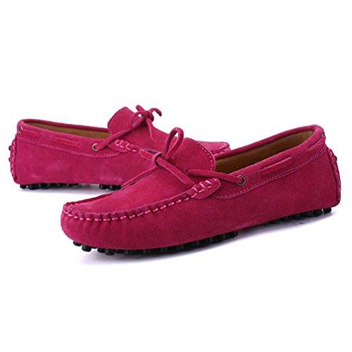 Zapatos Casual Roja Hombres Gamuza ConduccióN Vaca Mocasines Zapatos Pisos MocasíN Hombres Cuero De Rosa OqzpXa