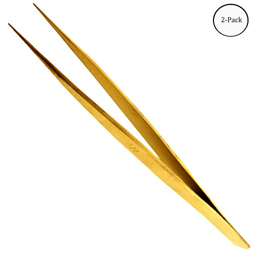 5 Brass Non Magnetic Tweezer With Pointed Tips   Pack of 2 Pcs