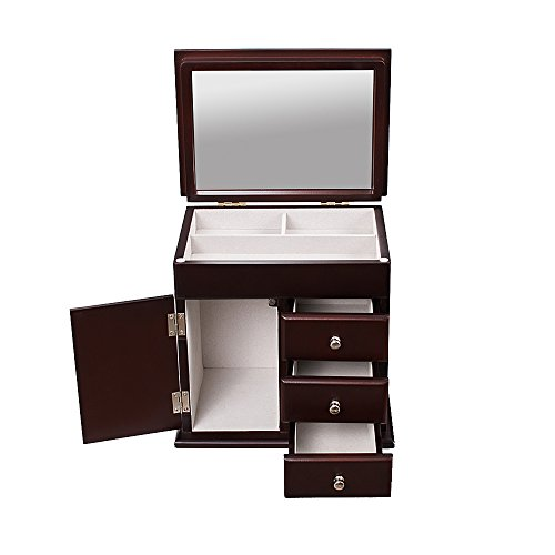 AHDECOR Decorative Wood Jewelry Storage Organizer Mirrored Lid Box with Three Drawers and One Swing Door, Espresso Brown Finish (Espresso Brown) - Mirror Unit