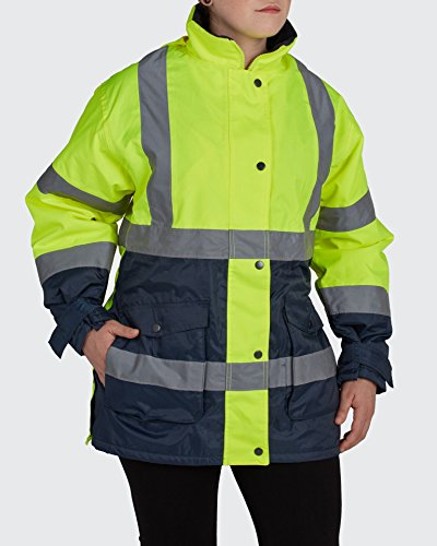 Utility Pro UHV664 Polyester High-Vis Ladies Jacket with Storm Cuffs with Dupont Teflon fabric protector,  Lime/Black,  Medium