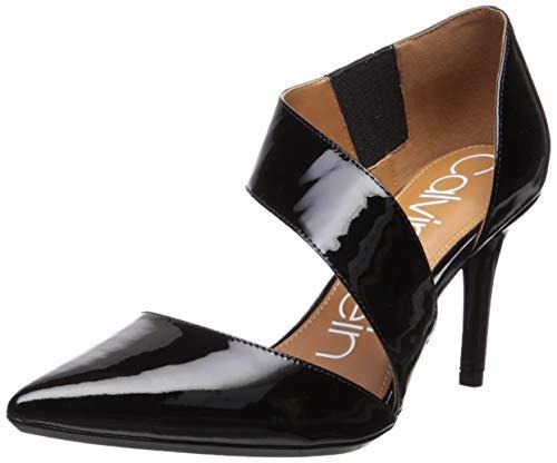 Calvin Klein Women's Gella Dress Pump, Black Patent Leather, 9 Wide US ()