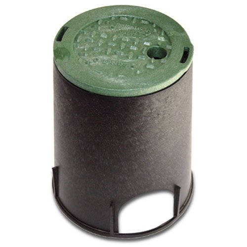NDS 107BC Standard Series Round Valve Box Overlapping Cover-ICV, 6-Inch, Black/Green