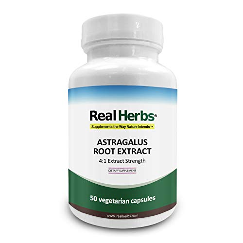 Real Herbs Astragalus Root Extract - Derived from 2800mg of Astragalus Root with 4:1 Extract Strength - Promotes Cardiovascular Health, Boosts Immune Function - 50 Vegetarian Capsules