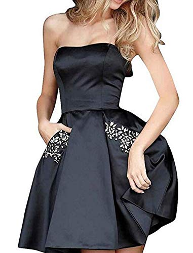 TTYbridal Strapless Beaded Homecoming Dresses Short Satin Cocktail Prom Gown with Pockets 2 - Short Beaded Strapless