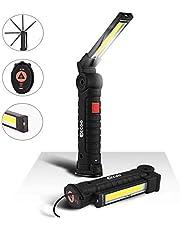 Linterna de Trabajo Recargable 1800mAh, EECOO Lámpara de Inspección 5 Modos 800 Lúmenes, LED COB Portátil Linterna con Base Magnética y Gancho para Emergencia, Taller, Automóviles (Grande)