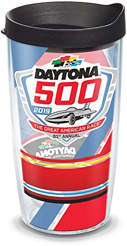 Tervis 1315074 NASCAR Daytona 500 Stripes Insulated Tumbler with Wrap Lid, 16 oz, Clear