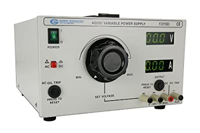 Global Specialties 1315D Rugged General Purpose AC/DC Power Supply with Digital LED Displays, 0-25V, 5A