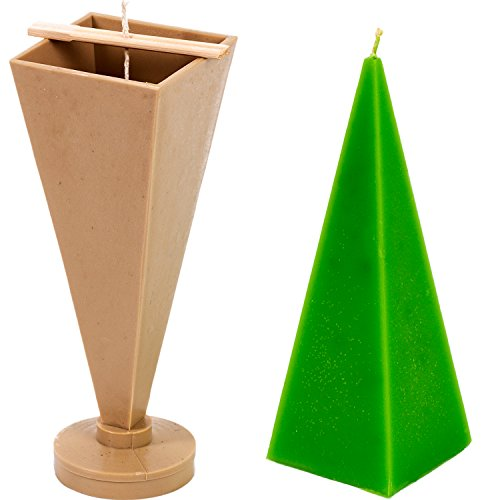 (Pyramid Taper Mold - Height: 8.8 in, Width: 2.7 in - 30 ft. of Wick Included as a Gift - Plastic Candle molds for Making Candles)