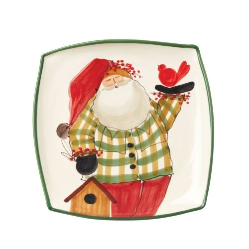 Vietri Old St. Nick Square Platter, Green Rimmed Stoneware w/Christmas Themed Interior