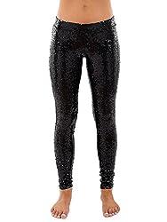 Women's Shiny Black Sequin Leggings