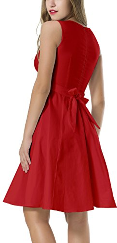 Red Belt NINEWE Rockabilly 1950s Hepburn Classy Women's Vintage With Audrey Swing Dress ZHg4B