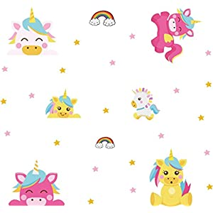Arttop Unicorn Wall Sticker Baby Nursery Unicorn Wall Decal Rainbow Wall Stickers Star Wall Decal Nursery Wall Decor