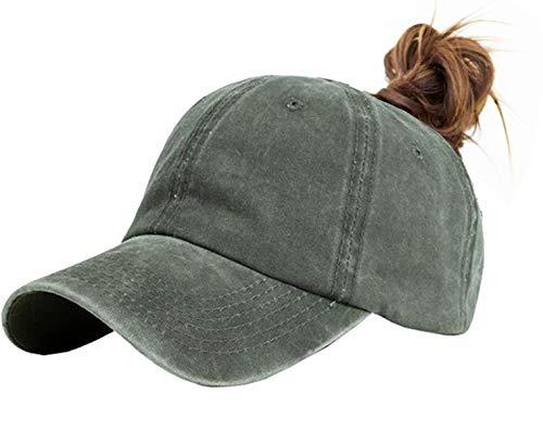 Messy High Bun Women Ponytail-Baseball-Hat Twill Vintage Trucker Ponycap (Adjustable, Army Green)