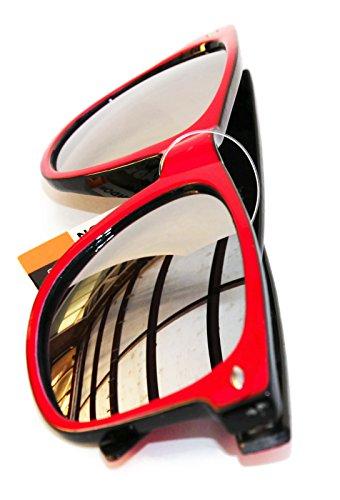 Classic Gafas Vintage Lentes Wayfarer UV400 Azul de Espejo Retro dos sol de New Unisex tonos PH1xRqR