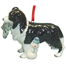 StealStreet SS-D-X047 Cute Christmas Holiday Border Collie Dog Ornament Statue Figurine