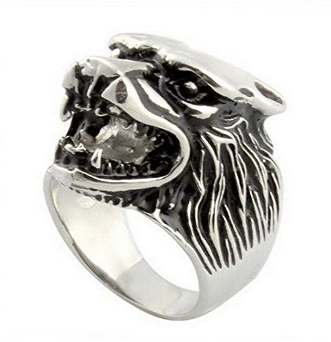 - Campton Hot Trendy Wolf Head Size 8-13 Stainless Steel Wedding Men's Business Rings Gift | Model RNG - 734 | 10