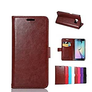 HJZ Solid Color Slot Soft Genuine Leather Full Body Bumper Cases with Stand for Samsung Galaxy S6 edge(Assorted Colors) , Light Blue