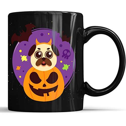 Funny Pug Pumpkin Halloween Mug - Funny Pug Halloween Coffee Mug 11oz Gift Black Tea Cups -