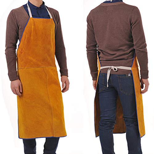 Leather Welding Work Apron - Heavy Duty Heat Resistant & Flame Resistant Work Shop Bib Apron, Suitable for BBQ, Splash Spark, Heat Workplaces. Adjustable One Size Fit Most -12.5