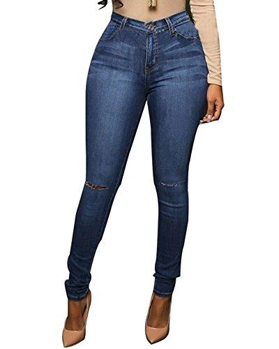 Alta Elásticos Vaqueros Slim Imagen de Cintura Skinny Leggings Como Pantalones La Mujer X7OtwX