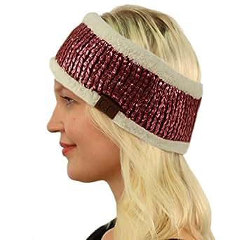 SK Hat shop CC Winter Fuzzy Fleece Lined Thick Knitted Headband Headwrap Earwarmer Metallic Burgundy/Pink
