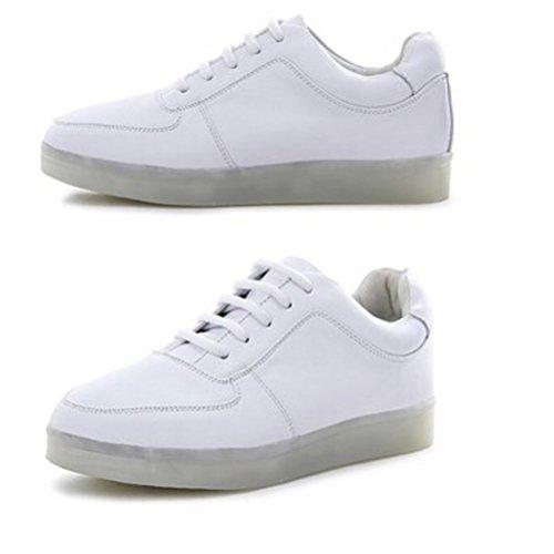 [Present:kleines Handtuch]JUNGLEST Unisex Damen Herren USB-Lade LED leuchten Sportschuhe Blink Luminous Fashion Sneakers für Hi Weiß