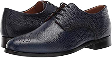 10.5 M US Black Grainy MARC JOSEPH NEW YORK Mens Leather Oxford Lace-Up Wingtip Dress Shoe