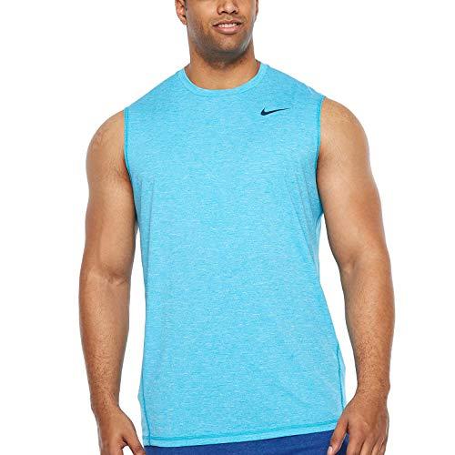 Nike Men's Big and Tall Dri-Fit Swim Fade Mist Hydroguard T-Shirt, UPF 40+ (Blue Fury, 3XL) (Nike Men Swim Shirt)