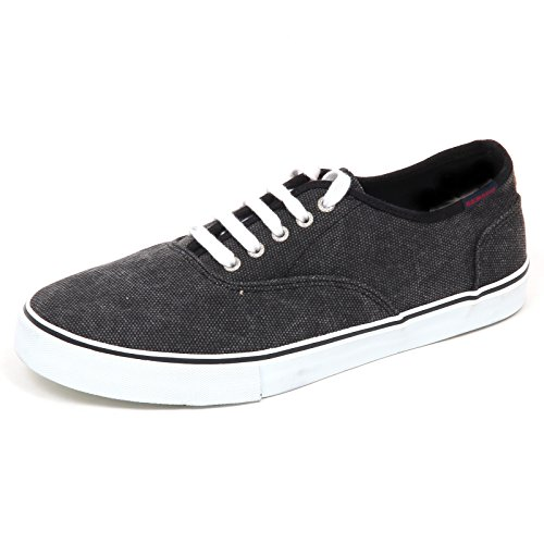 Box Uomo Man Sneaker without E0932 Nero grigio grey Black Sebago Shoe Vintage Canvas TISwy