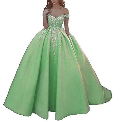 Green Ball Prom Women's Party Satin Floral Long Off DMDRS Shoulder Dress YvzZBgWqw