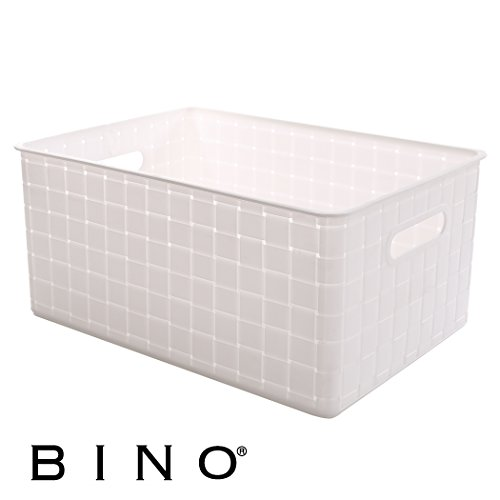 BINO Woven Plastic Storage Basket, Large (White Plastic Storage Basket)