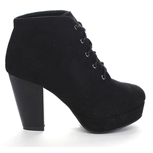 Forever Camille-86 Women's Stacked Up Booties,Black,9